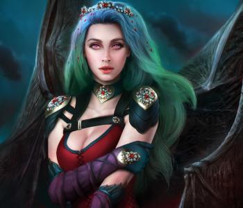 绿色的头发吸血鬼女王的梦幻般的女孩