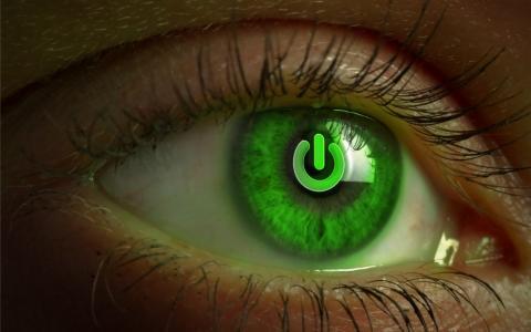 绿色的眼睛与标志包括