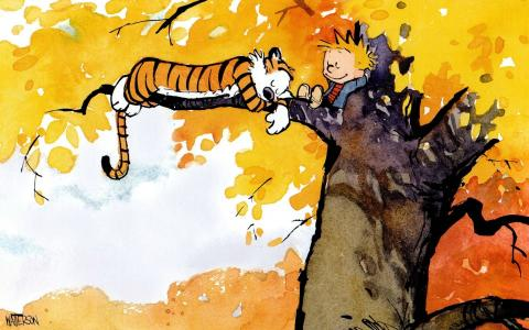 漫画书Kelvin和Hobbs的英雄在树上
