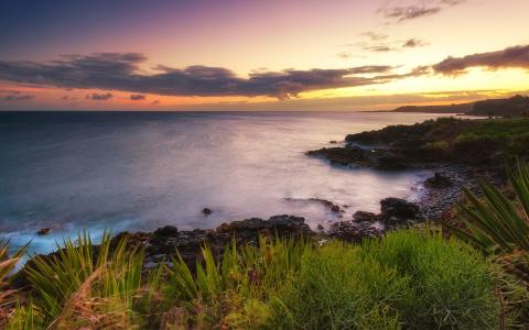 美丽的夕阳在夏威夷