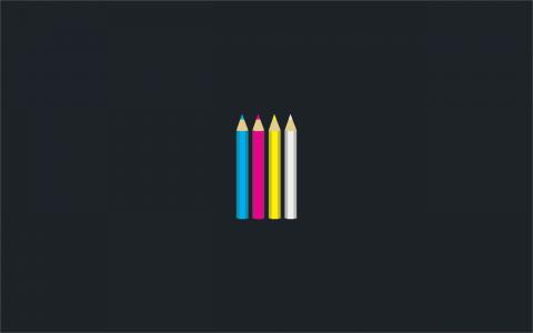 铅笔CMYK,灰色的背景