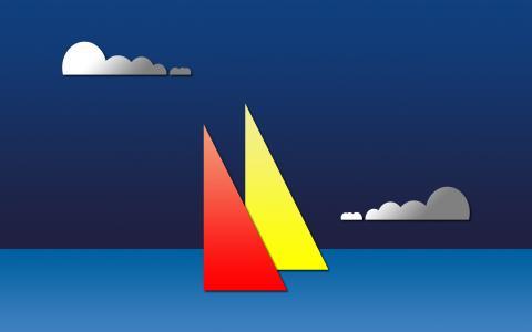 最小的风格的帆船