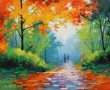 道路,叶子,可爱的情侣,秋天的树叶