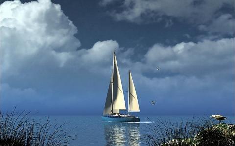 在海上航行的游艇