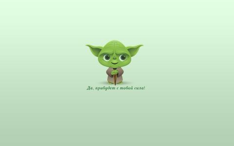 绿色背景上的绿色尤达