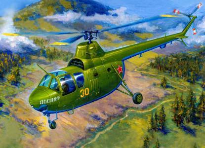 螺旋桨,直升机,mi-1m