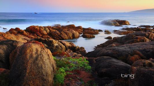 在海岸的岩石