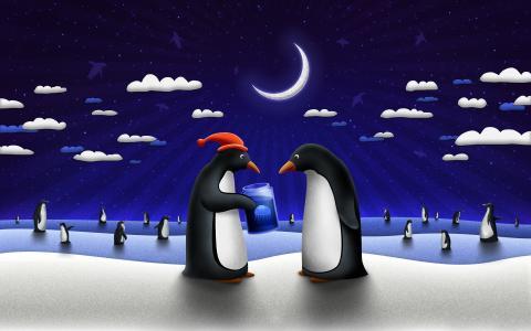 企鹅给水母