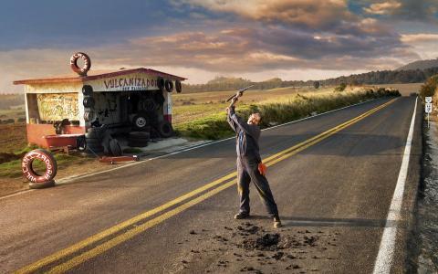西/创意轮胎广告