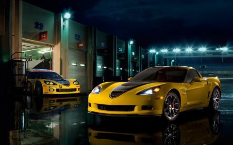 黄色雪佛兰科尔维特Z06