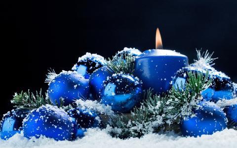 在雪中的蓝色毛皮树玩具