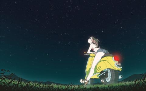 女孩看着动画中的星星49天