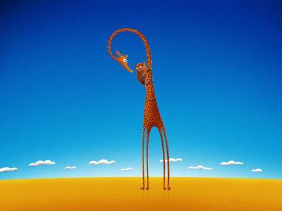 一只长颈鹿上的猴子