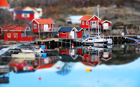 在瑞典的一个小镇的港口