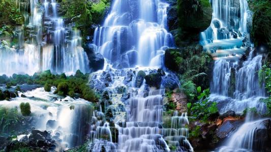 在森林里的瀑布