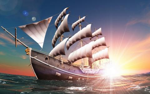 一艘帆船去冒险,一个卡通会议