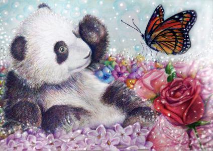 一只涂着熊猫的蝴蝶和一朵红玫瑰