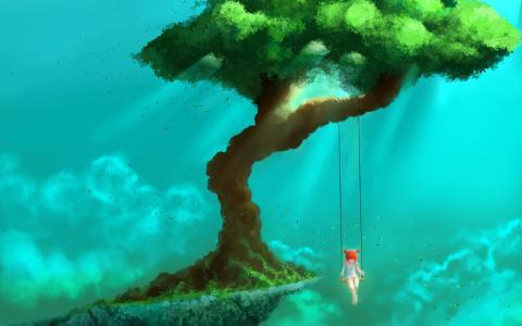 树木,女孩,秋千