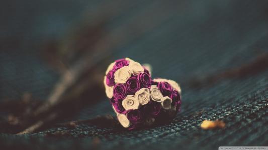 粉红色和白色的小花朵的心脏