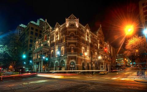 夜,路,建筑物
