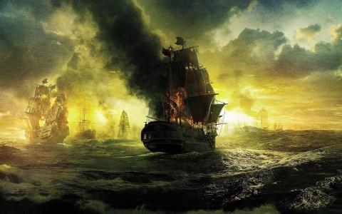 战斗后燃烧的船只,绘画