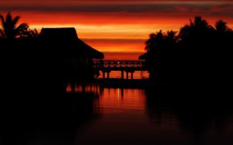 夕阳在大溪地