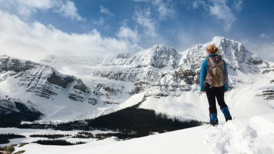 在山上的登山者