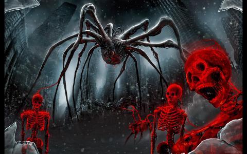 蜘蛛和红色的骨架