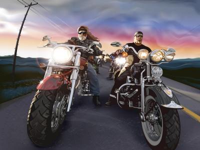 摩托车骑自行车