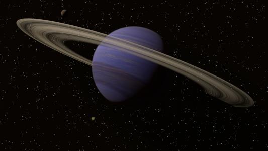 行星土星在星空背景