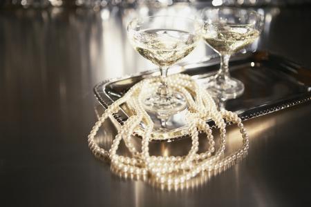 一杯香槟,倒影,珠子,香槟