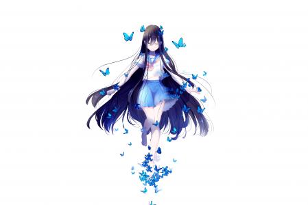 动漫与长长的头发,在白色背景上的蓝色蝴蝶的女孩