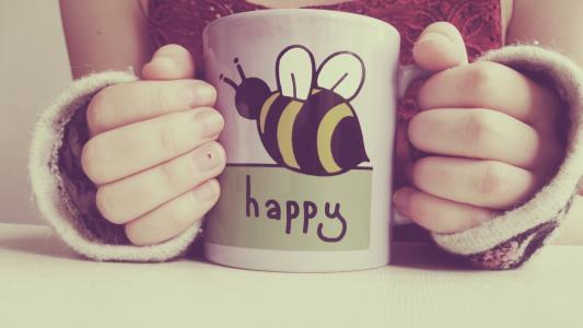 一个蜜蜂图案的杯子