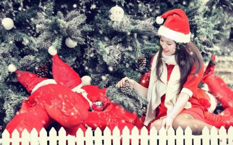 圣诞老人服装的女孩