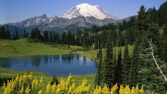 在山上的一个小湖