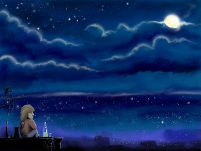 晚上,月亮,笑话,卡尔森