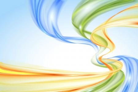 垂直的蓝色,橙色和绿色的抽象波浪