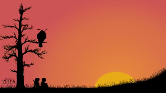 在旅客上面的树上的猫头鹰