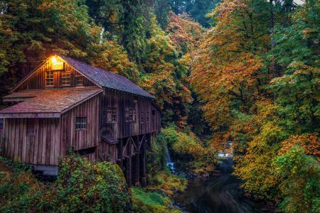 在秋天的森林水磨坊