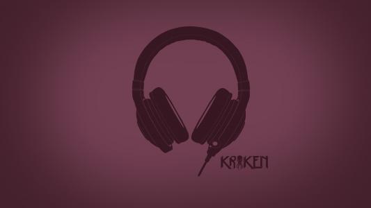 耳机Raiser,粉红色的背景