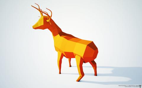 橙色的鹿,3D图形