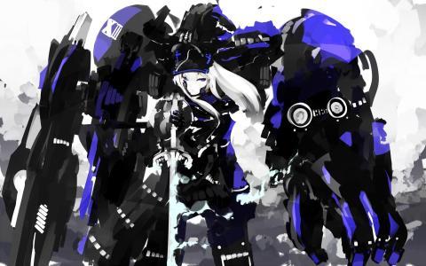 动漫女孩和蓝色的机器人