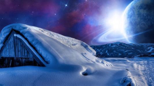 寒冷的星球的天空
