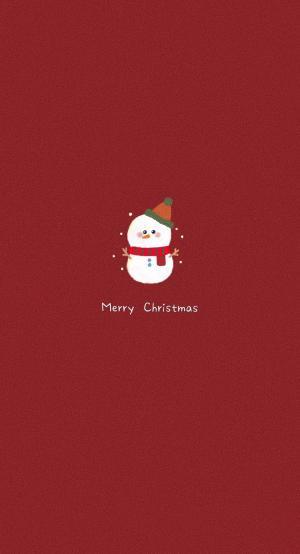 圣诞节可爱雪人锁屏壁纸