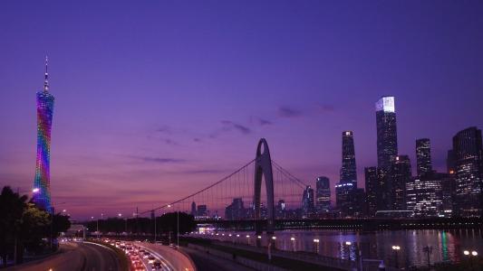 广州江畔夜景迷人景色