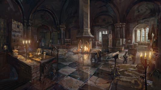 """在游戏""""巫师3狂猎""""中的建筑内部"""
