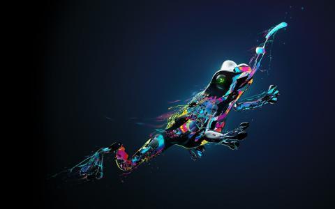 跳跃的彩虹青蛙