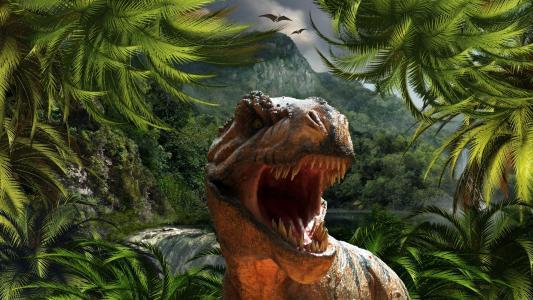 在原始世界的恐龙