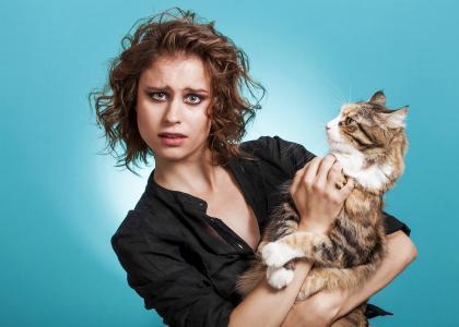 一个棕色头发的女人与一只大猫在蓝色背景上的年轻女孩