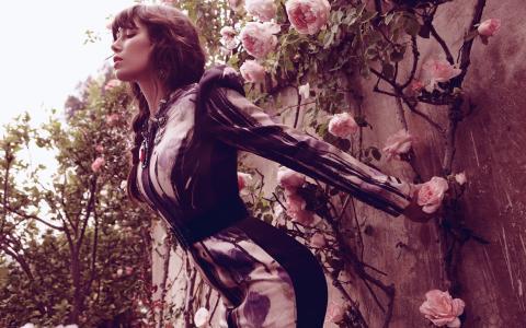 杰西卡在墙上的鲜花